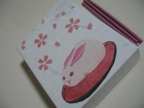 桜うさぎの版画(お香)